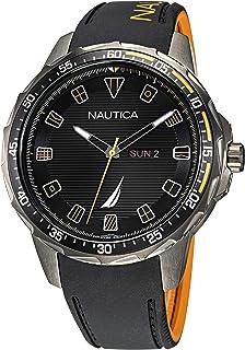 Nautica Men's Stainless Steel Quartz Silicone Strap, Black, 22 Casual Watch (Model: NAPCLS113)