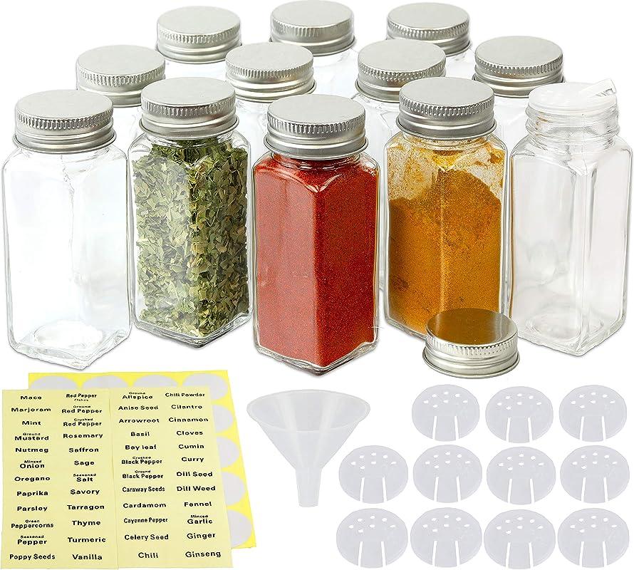 SimpleHouseware 12 Square Spice Bottles 4oz W Label Set