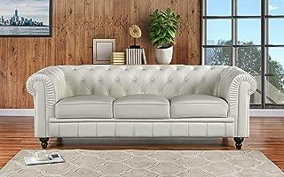Divano Roma Furniture Classic Scroll Arm Leather Match Chesterfield Sofa (Off-White)