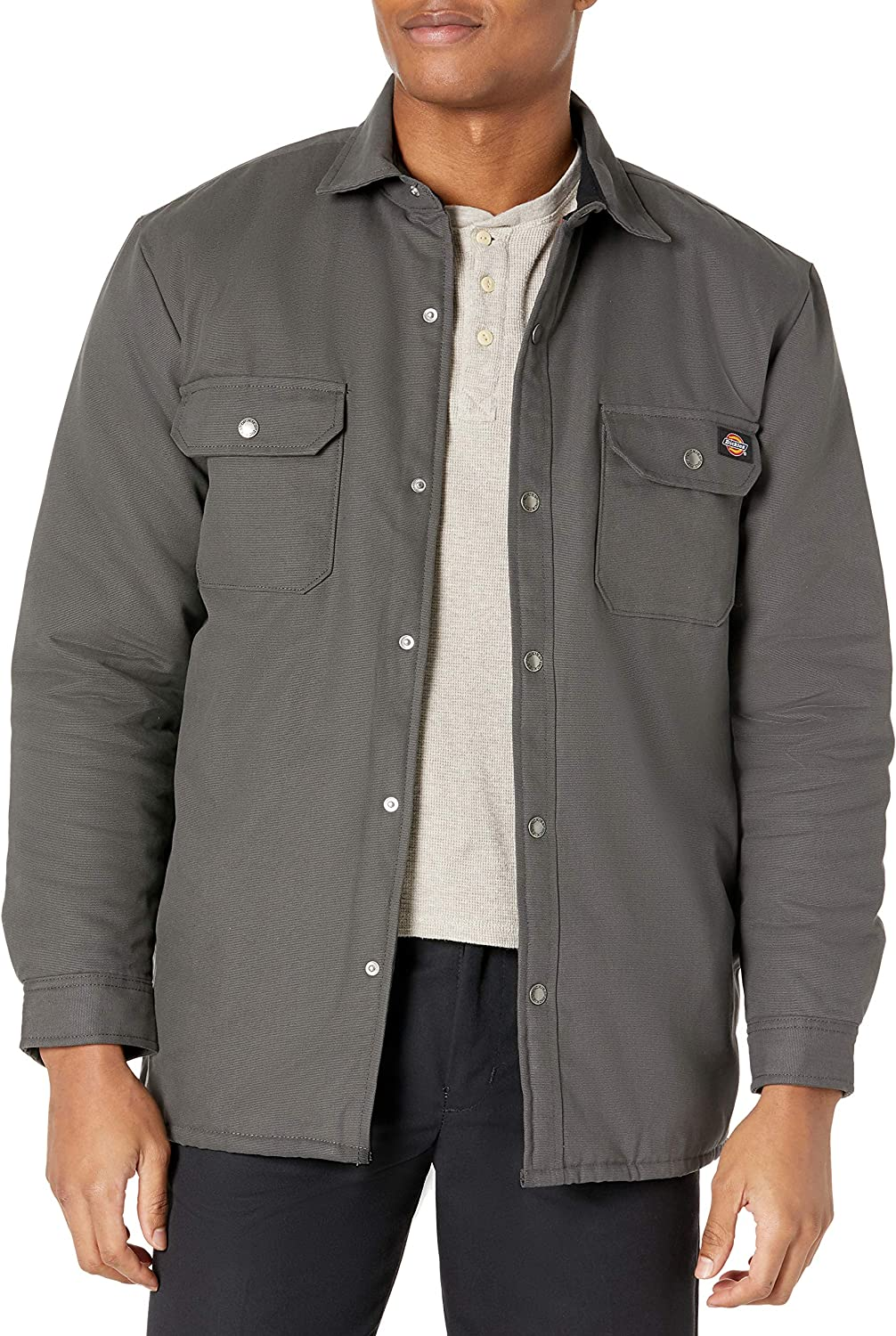Dickies Men's Flannel Lined Duck Shirt Jacket with Hydroshield
