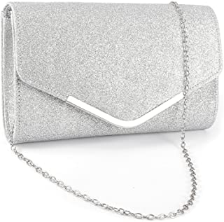 Anladia Metal-Tipped Purse Sparkle Glittered Envelope Clutch Bag Bridal  Prom Party Purse 13840e6b3f13
