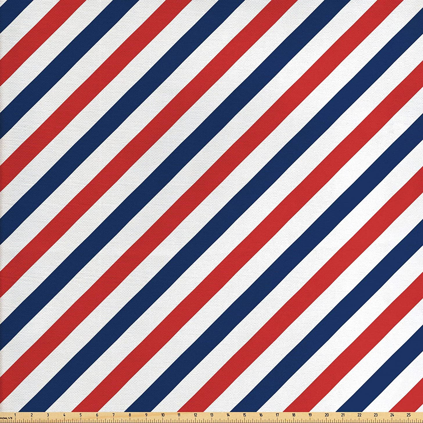 Ambesonne Harbour Stripe Fabric by The Yard, Vintage Barber Pole Helix of Colored Stripes Medieval Contrast Design, Decorative Fabric for Upholstery and Home Accents, 2 Yards, Blue Red White