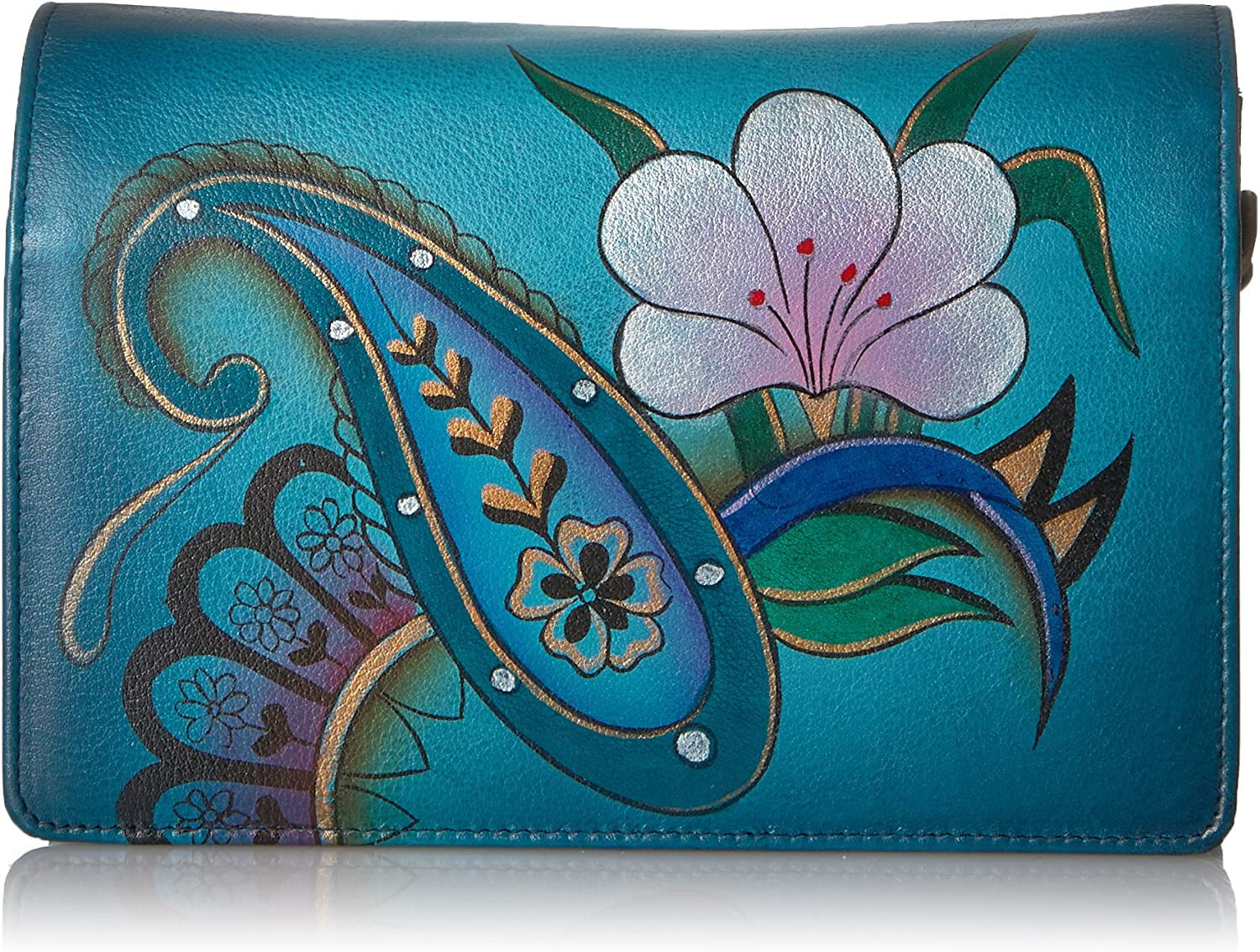 Anna By Anuschka Handpainted Leather Women's Two Fold Wallet On A String Wallet, dpfdenim paisley floral, One Size