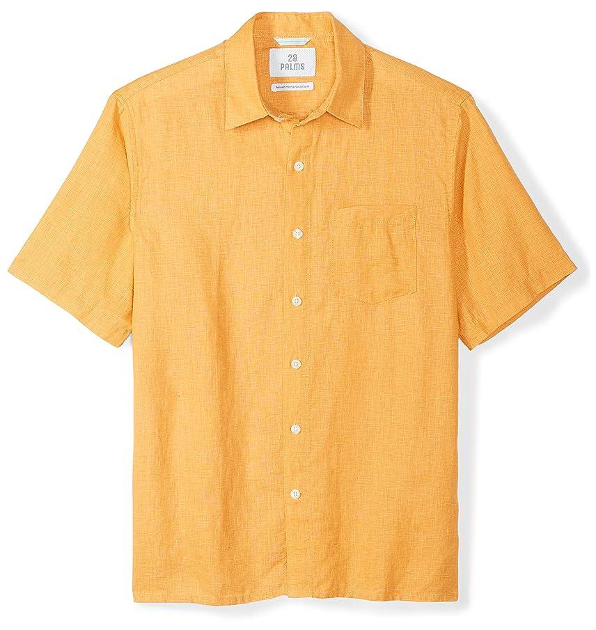 Amazon Brand - 28 Palms Men's Relaxed-Fit Short-Sleeve 100% Linen Shirt