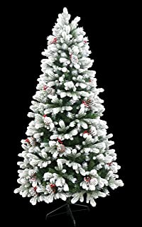 HOLIDAY STUFF 5 Foot Small Frosted Winter Spruce Flocked Christmas Tree (5 Ft Unlit)