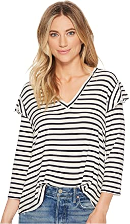 Sofonis Striped Rib Knit Ruffle Top