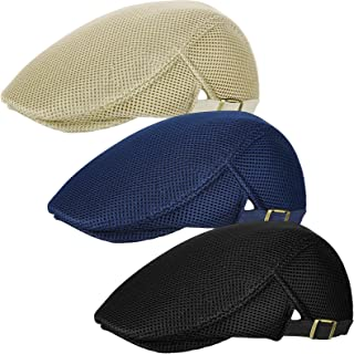 Geyoga 3 Pieces Men Mesh Flat Cap Breathable Summer Newsboy Hat Beret Ivy Hat Cabbie Flat Cap for Driving Hunting