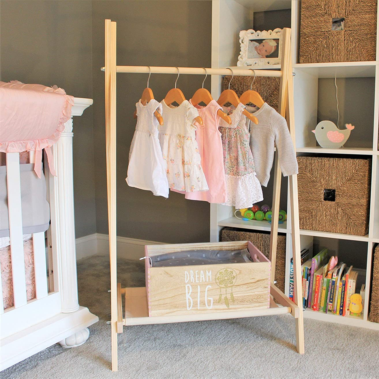 Clothing Rack, Kids Room Decor, Nursery Organization, Kids Clothes Storage, FOLDS UP, 48x26 inch Tall Clothes Rack with Fabric Storage Shelf