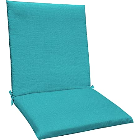 Amazon Com Honeycomb Indoor Outdoor Aqua Solid Midback Dining Chair Cushion Recycled Polyester Fill Weather Resistant Patio Cushions 20 W X 38 L X 2 5 T Garden Outdoor