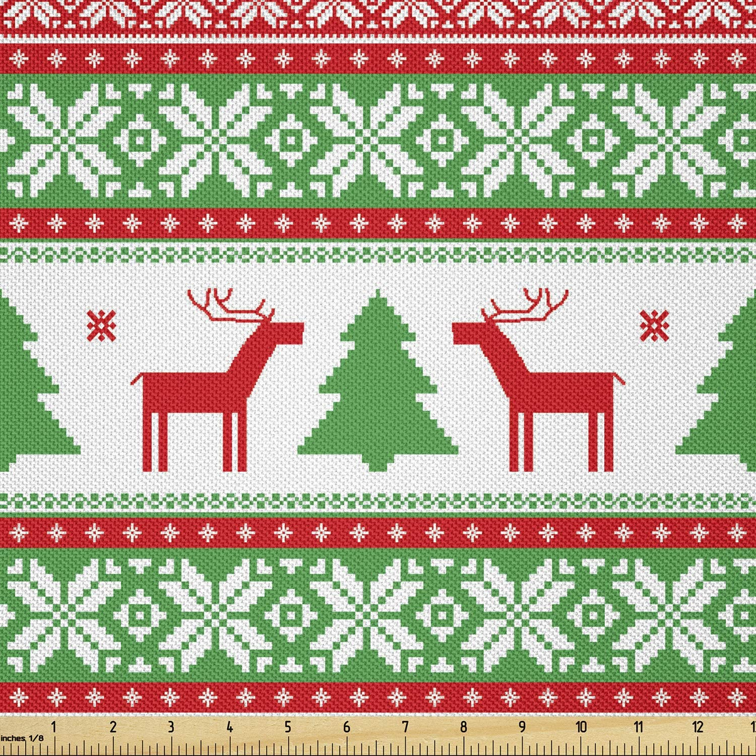 Ambesonne Christmas Fabric by Popular shop is the lowest price challenge The Yard Knit Style Product Reind Graphic