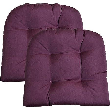 Sunbrella Canvas Navy Wicker Chair Cushion Indoor  Outdoor Tufted Wicker Chair Seat Cushion Choose Size