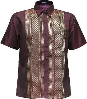 Thai Silk Men's Short Sleeve Shirt Traditional Straight Band Collar Casual