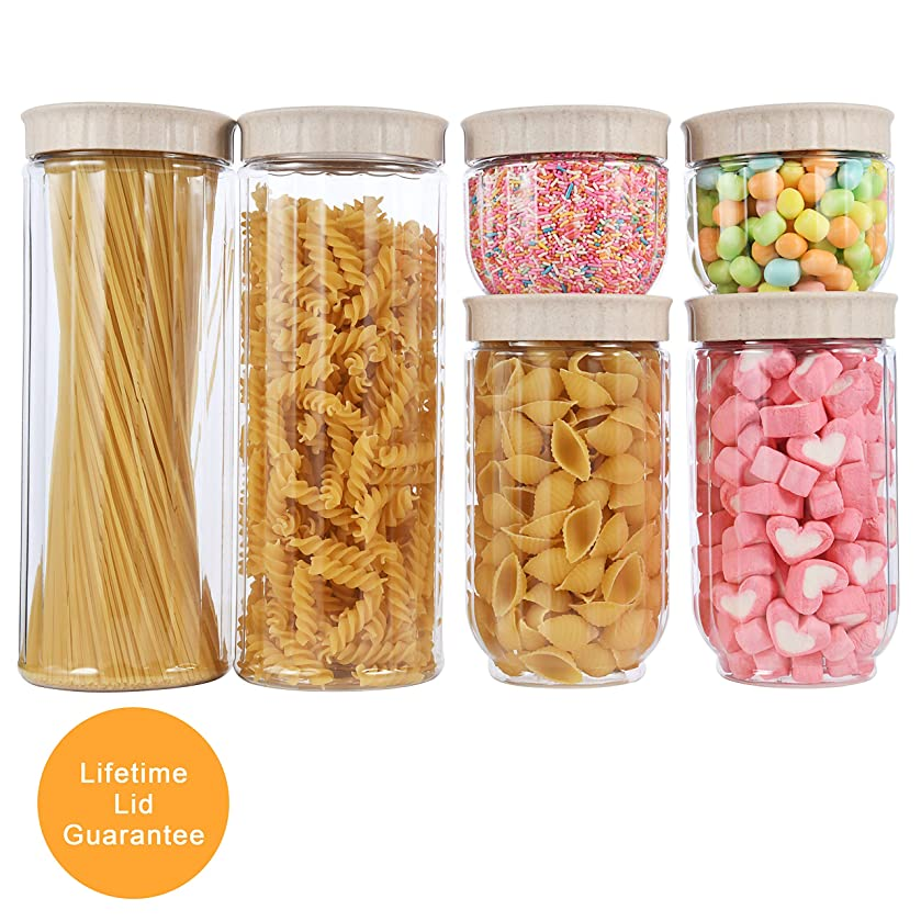 Food Storage Container Set with Lids made by Wheat Fiber BPA-free Ideal for Dry Foods, Nuts, Grain, Flour, Snaps, Cookies & Candies, Beige