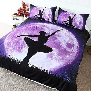 BlessLiving Ballerina Bedding Full Moon Ballet Dancer Silhouette Pattern Modern Black Purple Ballet Duvet Cover (Full)