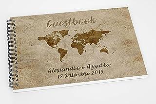 Guestbook matrimonio - libro dediche e auguri invitati personalizzato vintage mappamondo cartina tema viaggio disponibile ...