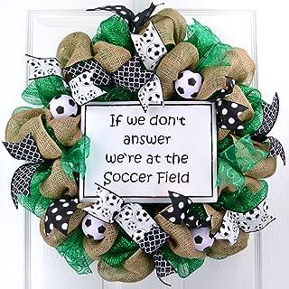 Soccer Ball Field mesh door wreath; emerald green black white