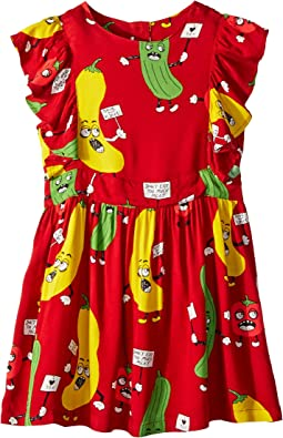 mini rodini - Veggie Woven Ruffled Dress (Infant/Toddler/Little Kids/Big Kids)
