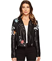 Blank NYC - Vegan Leather Graphic Moto Jacket in Secret Keeper