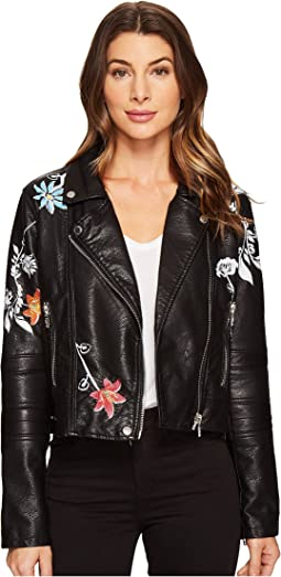 Vegan Leather Graphic Moto Jacket in Secret Keeper
