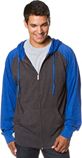 Mens Lightweight Tshirt Jersey Full Zip Up Hoodie Hooded Sweatshirt