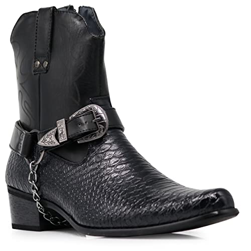 Alberto Fellini Mens Crocodile Prints Western Cowboy Boots with Side Zipper, Belt Buckle and Metal