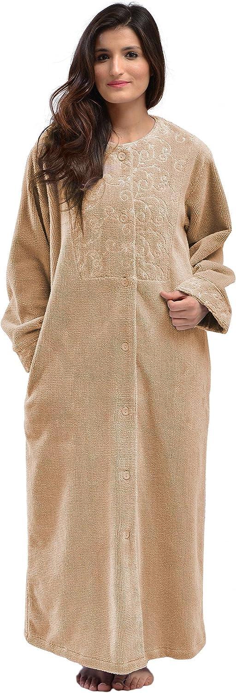 Bath & Robes Women's Full Length Cotton Chenille Buttoned Bathrobe