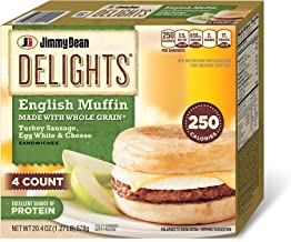 Jimmy Dean, Delights English Muffin, Whole Grain Turkey Sausage, Egg White and Cheese, 4 Count