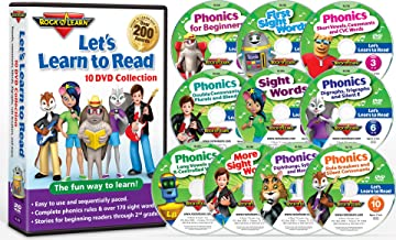 Let's Learn to Read 10 by Rock 'N Learn 170 sight words, covers all phonics rules, vowels, consonants, blends, digraphs, practice sections to build reading fluency, 80 downloadable worksheets and more.