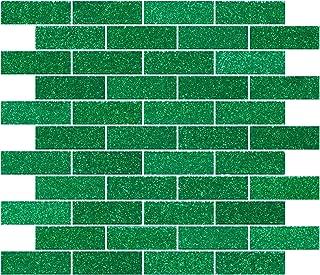Susan Jablon Mosaics - 1x3 Inch Emerald Green Glitter Glass Subway Tile