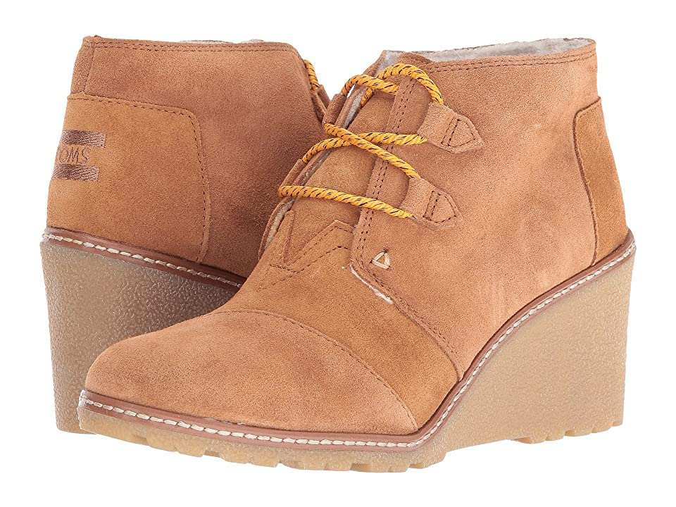TOMS Desert Wedge (Wheat Suede/Shearling/Faux Crepe Wedge) Women
