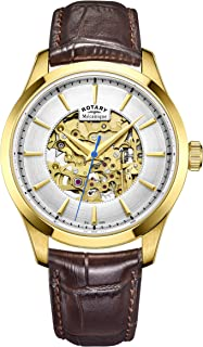 Mens Skeleton Automatic Watch with Leather Strap GS05035/03