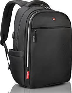 Office Laptop Black Backpack Swiss Design with Quick USB Charge RFID Rain Cover