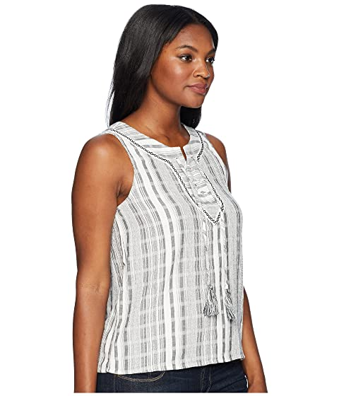 TWO by Vince Camuto Sleeveless Lace-Up Jacquard Stripe Blouse New Ivory Outlet Cheapest whklUY