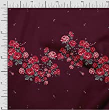 Soimoi Red Poly Crepe Fabric Leaves & Rose Panel Print Fabric by The Yard 42 Inch Wide