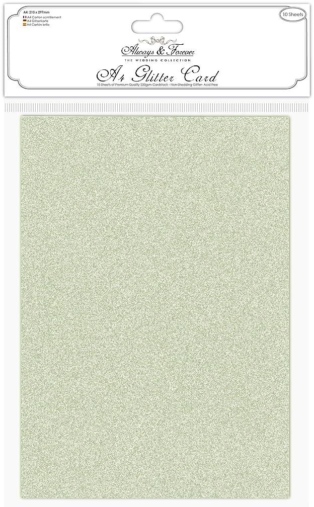 Craft Consortium AFGCRD03 Always & Forever A4 Glitter Cardstock 10/Pk-Sage