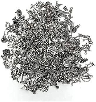JIALEEY 200 PCS Wholesale Bulk Lots Jewelry Making Charms Mixed Smooth Tibetan Silver Metal Charms Pendants DIY for N...