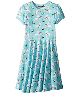 White Unicorns Short Sleeve Waisted Dress (Toddler/Little Kids/Big Kids)