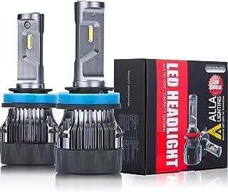Alla Lighting S-HCR H11 H8 H9 LED Headlights Bulbs Conversion Kits Replacement 10000Lms Xtreme Super Bright LED H11 Headlights H8 H9, 6K Xenon White