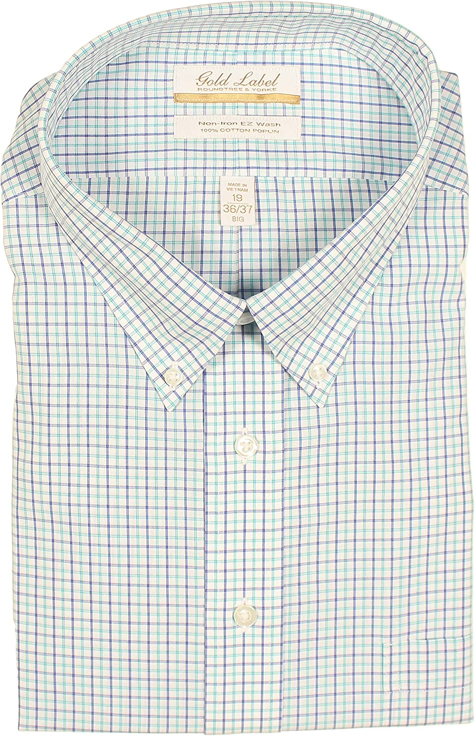 Gold Label Men's Non-Iron Wrinkle-Resistant Long Sleeve Dress Shirt with Button-Down Collar (Aqua 015, 18 x 34)
