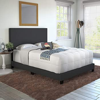 Boyd Sleep Montana Upholstered Platform Bed Frame Mattress Foundation with Headboard and Strong Wood Slat Supports: Linen, Charcoal, Full