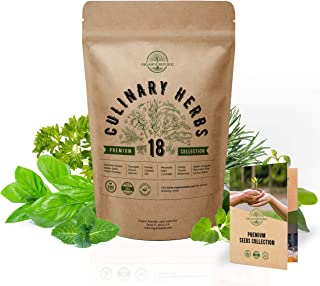 18 Culinary Herbs Seeds Variety Pack - Heirloom, NON-GMO, Herbs Seeds for Planting Outdoor and Indoor - Home Gardening. Ov...