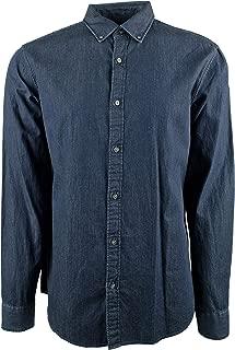 Michael Kors Men's Washed Denim Slim Fit Long Sleeve Shirt