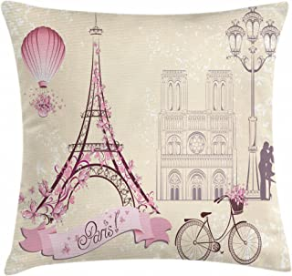 Ambesonne Kiss Throw Pillow Cushion Cover, Floral Pariss Landmarks Eiffel Tower Hot Air Balloon Bicycle Romantic Couple, Decorative Square Accent Pillow Case, 18