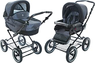Baby Stroller for Infant Newborn and Toddler Roan Rocco Classic Pram Stroller 2-in-1 with Bassinet Separate Seat & Big air-inflated Wheels - Graphite