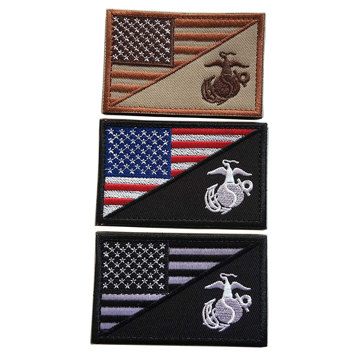 USA American Flag w/Marine Corps USMC Military Tactical Morale Badge Patch 3