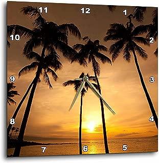3dRose DPP_89745_3 Hawaii, Kapalua Beach. Sunset and Palm Trees-Us12 Dpb1667-Douglas Peebles-Wall Clock, 15 by 15-Inch
