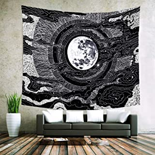 Black and White Tapestry, Sun and Moon Tapestry Wall Hanging, Tapestry Hippie Black Wall Tapestry Large, Star Art Wall Tapestry for Living Room Bedroom Home Decor (Moon, 78