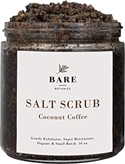 Bare Botanics Toasted Coconut Coffee Body Scrub, Large 16oz, Anti Cellulite Scrub, Spider Vein Therapy and Varicose Veins ...