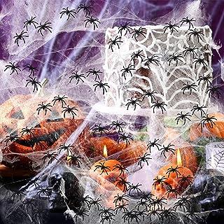 HOOJO 1000 pies cuadrados de tela de araña decoraciones de Halloween con 60 arañas, proveedores de tela de araña falsa, de...