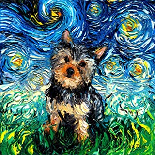 Starry Night Yorkie Art Yorkshire Terrier Dog Art by Aja choose size and type of paper Wall decor van Gogh